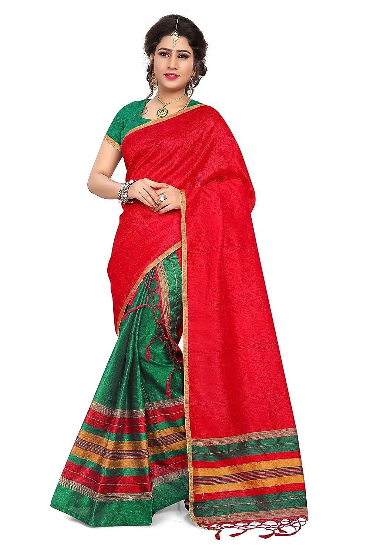 S Kiran's Women's Art Kheecha Mekhela Chador (RedGreen_Free Size)