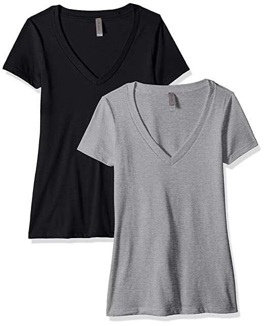 b65a674344749b Clementine Apparel Women s Casual T Shirt Comfy Short Sleeve Pull Over  Basic V Neck Top Tee 2PK (6640)