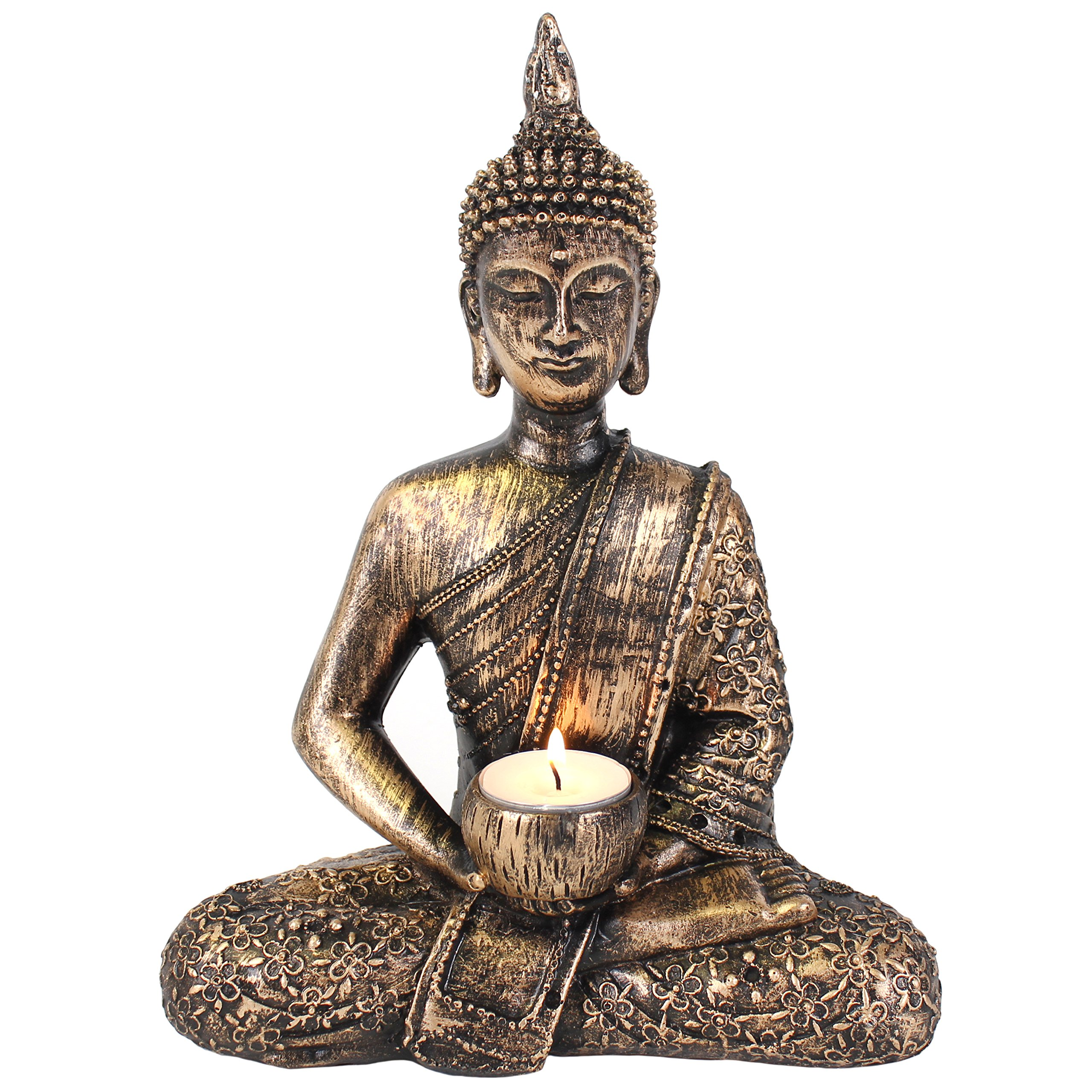 Giftbrit Large Thai Buddha tealight holder, Gold, Bronze by Giftbrit
