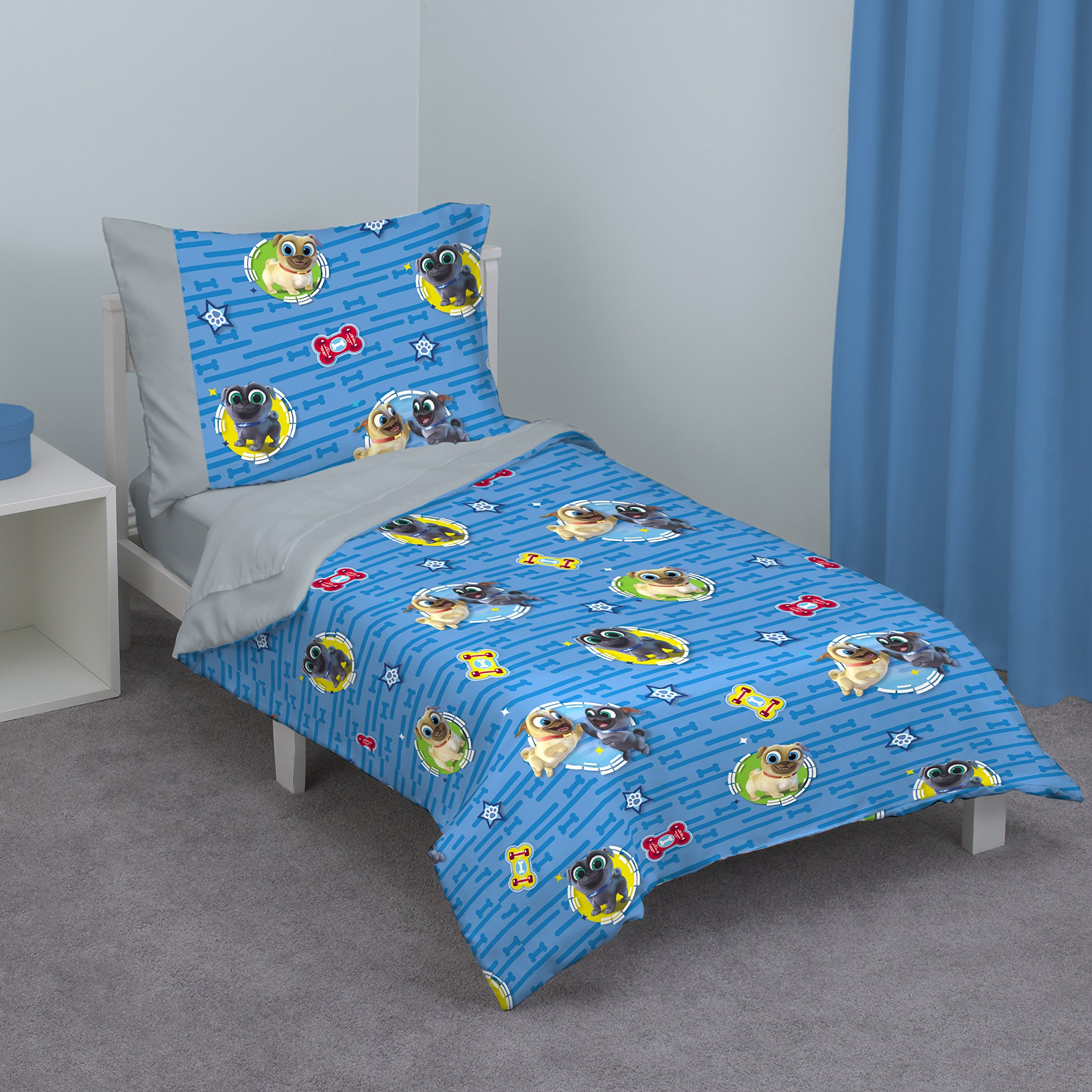 Disney Puppy Dog Pals 4 Piece Toddler Bed Set, Blue/Red/Yellow/Green by Disney