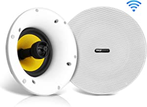 "WiFi Bluetooth Ceiling Mount Speakers - 8"" in-Wall/in-Ceiling Dual Active & Passive Speaker System (2) Flush Mount w/ Powerful 300 Watts Remote Control & MUZO Player Compatible - Pyle PDICWIFIB82"
