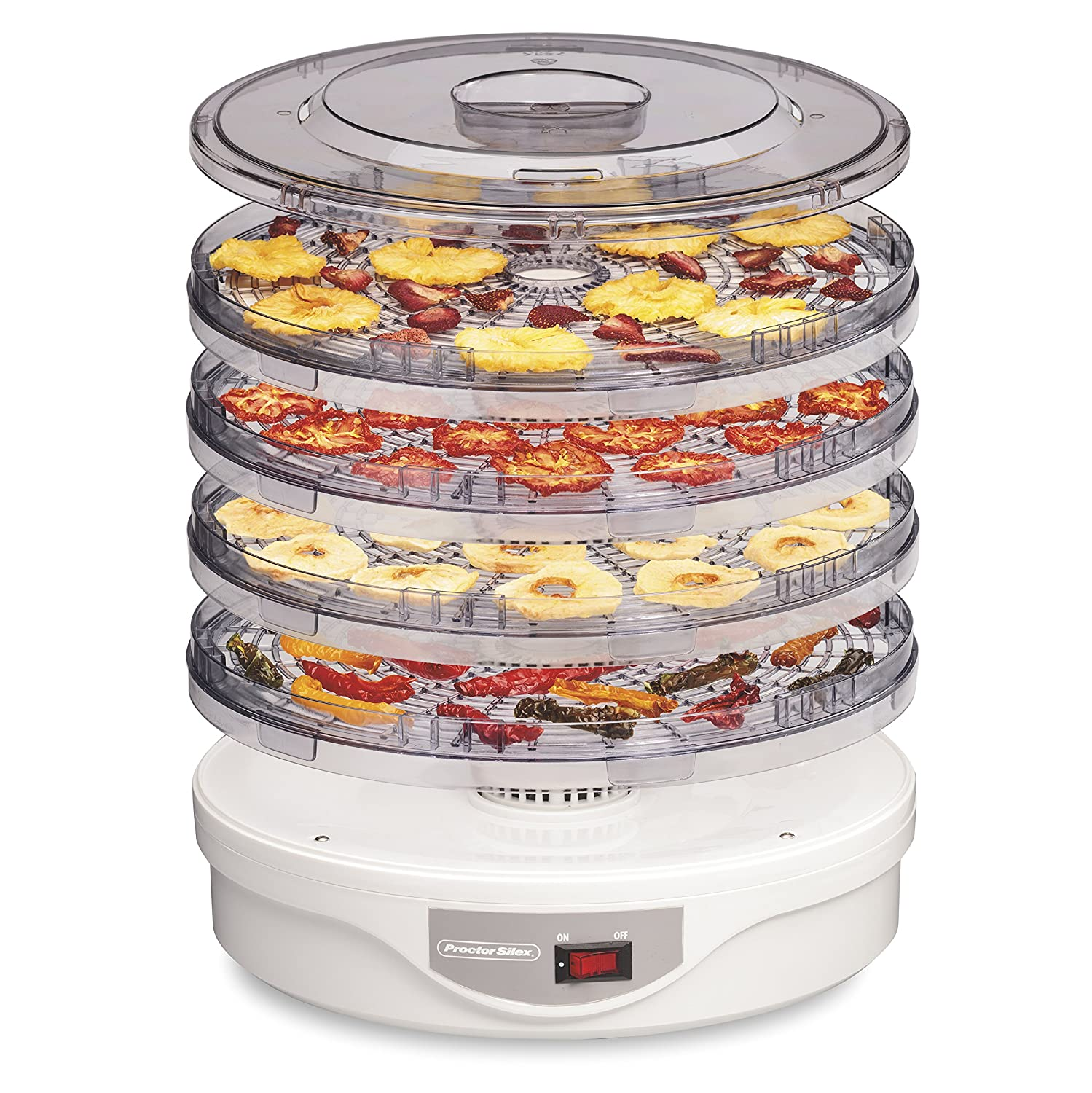 Proctor Silex 32120 Food Dehydrator Machine for Jerky, Fruit, Vegetables & more, 4 Tray, White