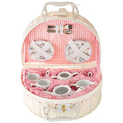 Delton Products Pink Butterfly Children's Tea Set with Basket: Toys & Games