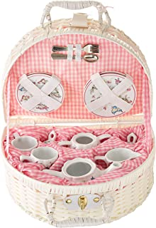 Delton Products Pink Butterfly Childrenu0027s Tea Set With Basket