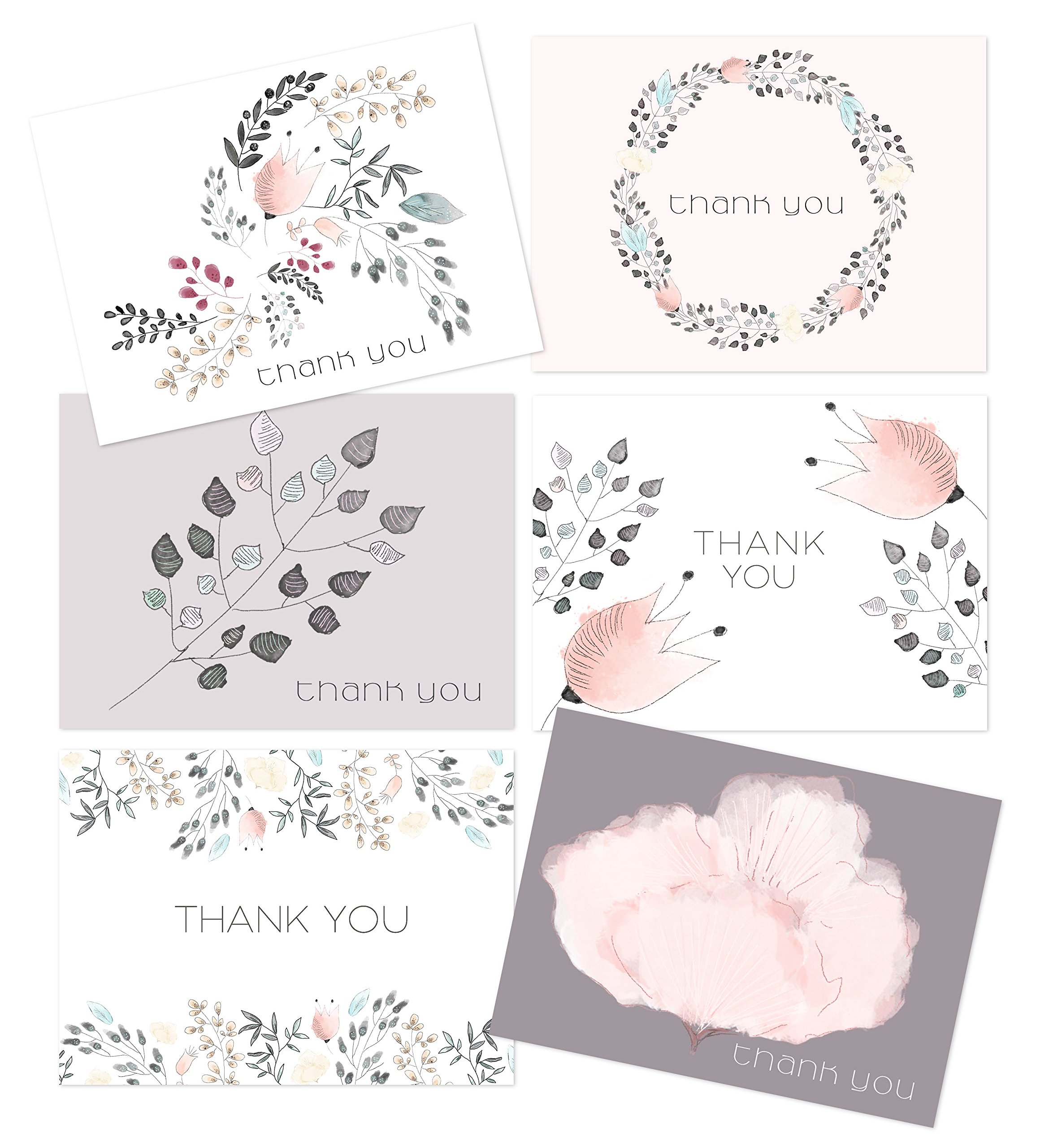 Amazon.com: Embellished Thank You - 36 Thank You Cards - 6 Designs ...