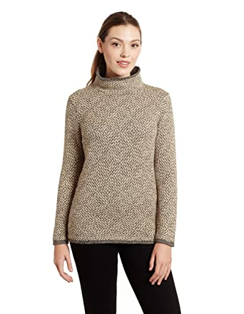 Invisible World Women s 100% Alpaca Wool Pullover Turtleneck Sweater Asti  Sm Beige 3a473c56c