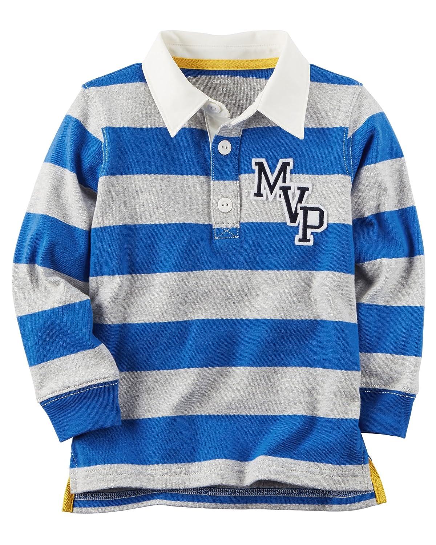 Amazon Carters Boy Longsleeve Rugby Striped Polo Shirt Blue