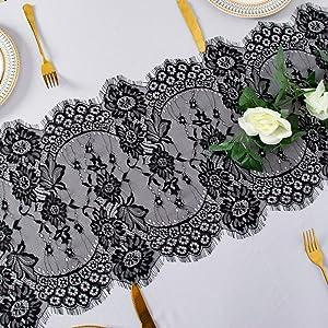 AMZLOKAE Lace-Table-Runner 13''x120'' Black Lace Embroidered Table Runner Wedding Lace Table Runner Floral Table Cloth Runner Vintage Table Runner Thanksgiving Table Decor