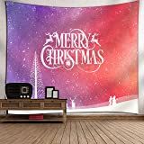 Merry Christmas Tapestry Deer Snow Design Holiday Wall Hanging, Wall Tapestry for Living Room Bedroom Dorm Decor, 60 x…