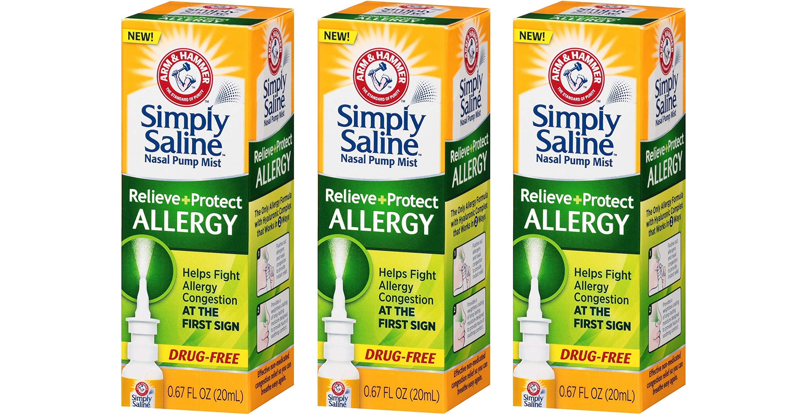 Simply Saline Allergy Relief Nasal Pump Mist, 0.67 Ounce (Pack of 3) by Simply Saline