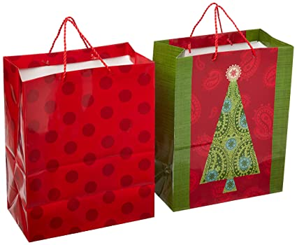 hallmark large christmas gift bags tree and polka dot pack of 2 - Large Christmas Gift Bags