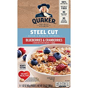 Quaker, Instant Steel Cut Oatmeal, Cranberries And Blueberries, 8 Ct