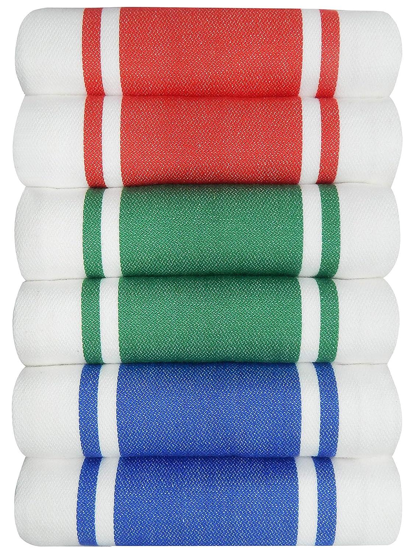 Dish Kitchen Towels Vintage Striped 100/% Cotton Tea Towel 20 x 28 inch Set of 6 Teal Tiny Break