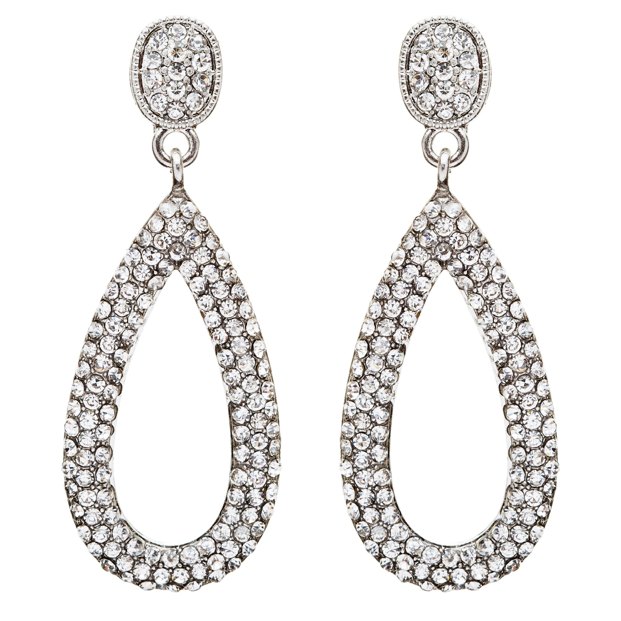 Bridal Wedding Jewelry Crystal Rhinestone Charming Tear Drop Earrings E735Silver