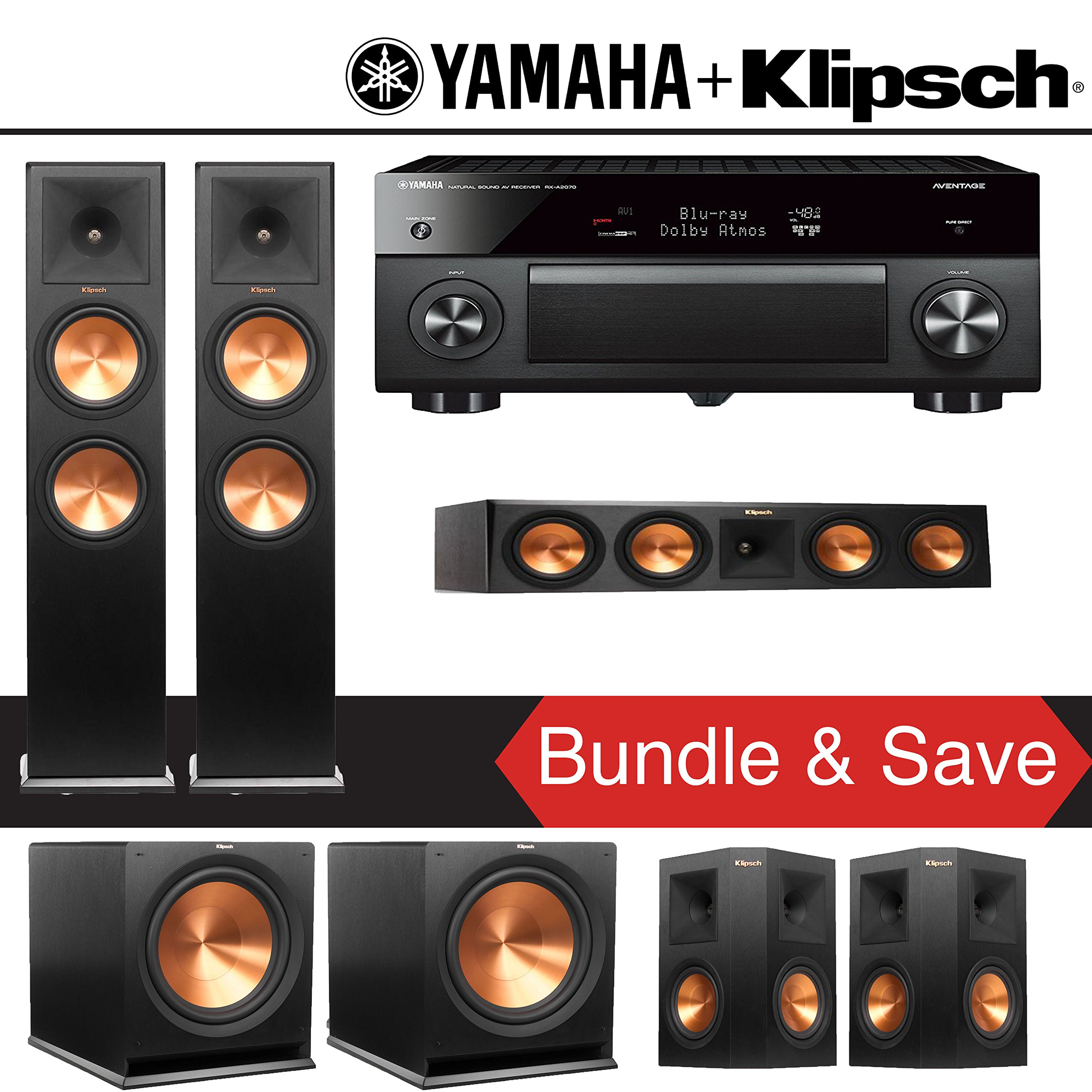 Klipsch RP-280F 5.2-Ch Reference Premiere Home Theater System with Yamaha AVENTAGE RX-A2070BL 9.2-Channel Network A/V Receiver by Klipsch