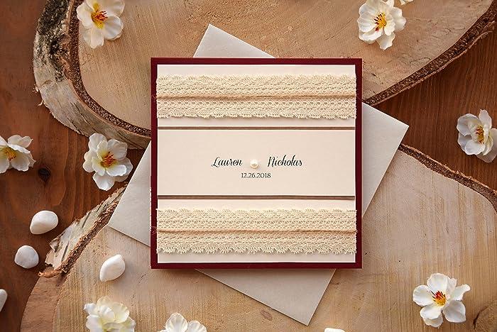 Amazon Com Pocketfold Wedding Invitation Red And Ivory Sample