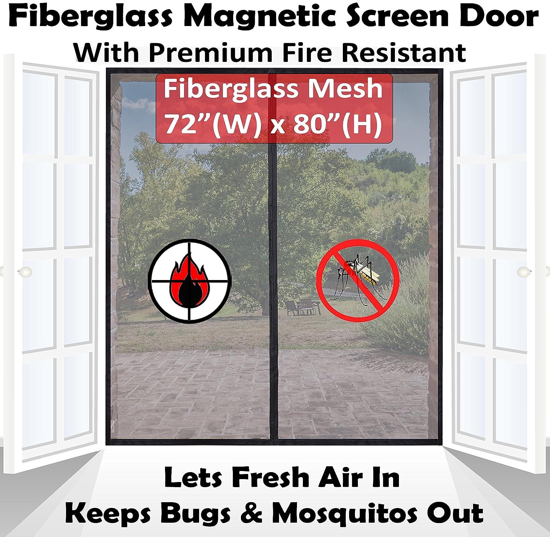 Premium 72x80 Magnetic Screen Door for French Door Fire Resistant Fiberglass Mesh   Bug Mosquito Proof Kids Pets Friendly   Fit Doors up to 70 x 79