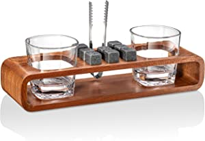 Whiskey Stones Gift Set with Stand | 13-Piece Handcrafted Whiskey Glass Set Granit Whiskey Rocks for Perfect Drink | Whiskey Gift Set & Whiskey Kit | Best Whisky Stones Glass Set for Men Dad Boyfriend