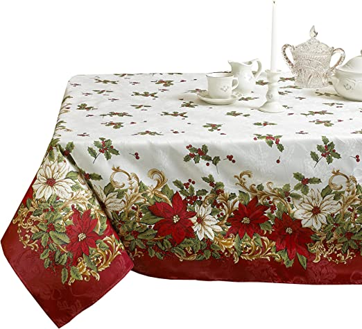 Table Cloth or Runners or Sets Traditional Holly Embroidered Table Linen
