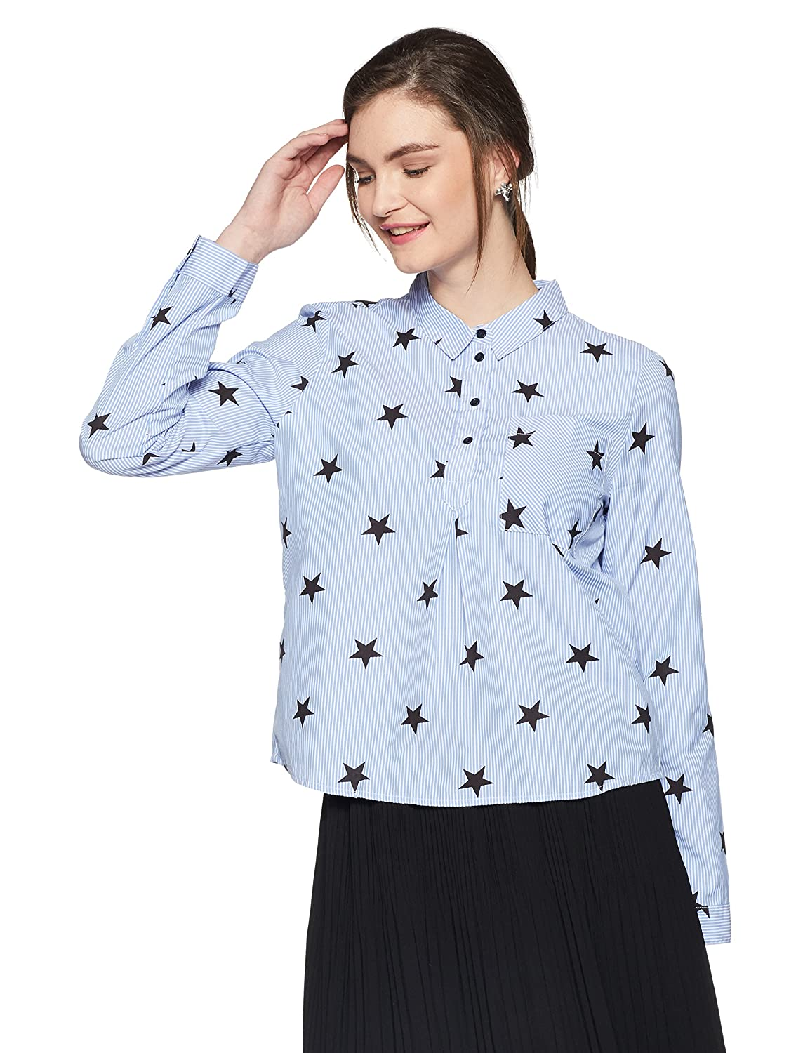 TALLA 36. Only Onlamy L/S Star Shirt Wvn Blusa para Mujer