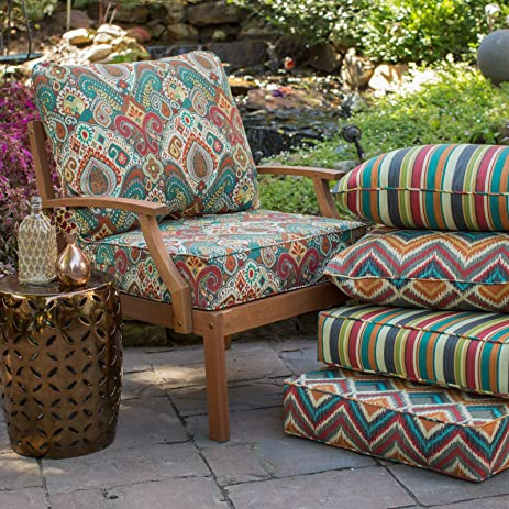 Superieur Blue Red Multi Exotic Paisley Outdoor Deep Seat Cushion Set Seat Back  Replacement Cushions For Patio