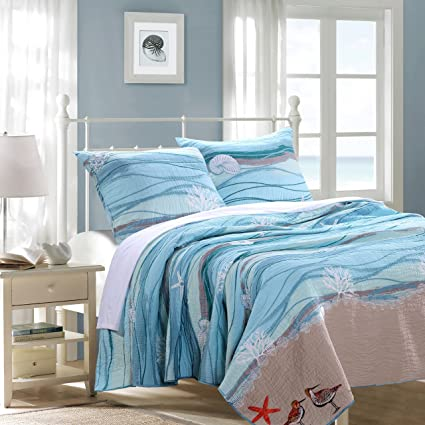 Marvelous GHF 3 Piece King Ocean Themed Quilt Set, Coastal Sea Blue Beach Bedding,  Turquoise