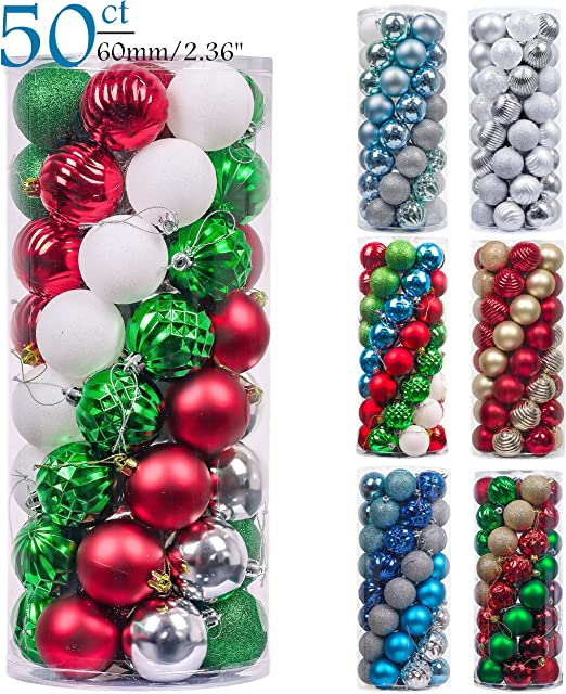 Not Included Valery Madelyn 50ct Classic Collection Splendor Shatterproof Christmas Ball Ornaments Decoration New Red Green White Themed With Tree Skirt Home Kitchen Seasonal Décor