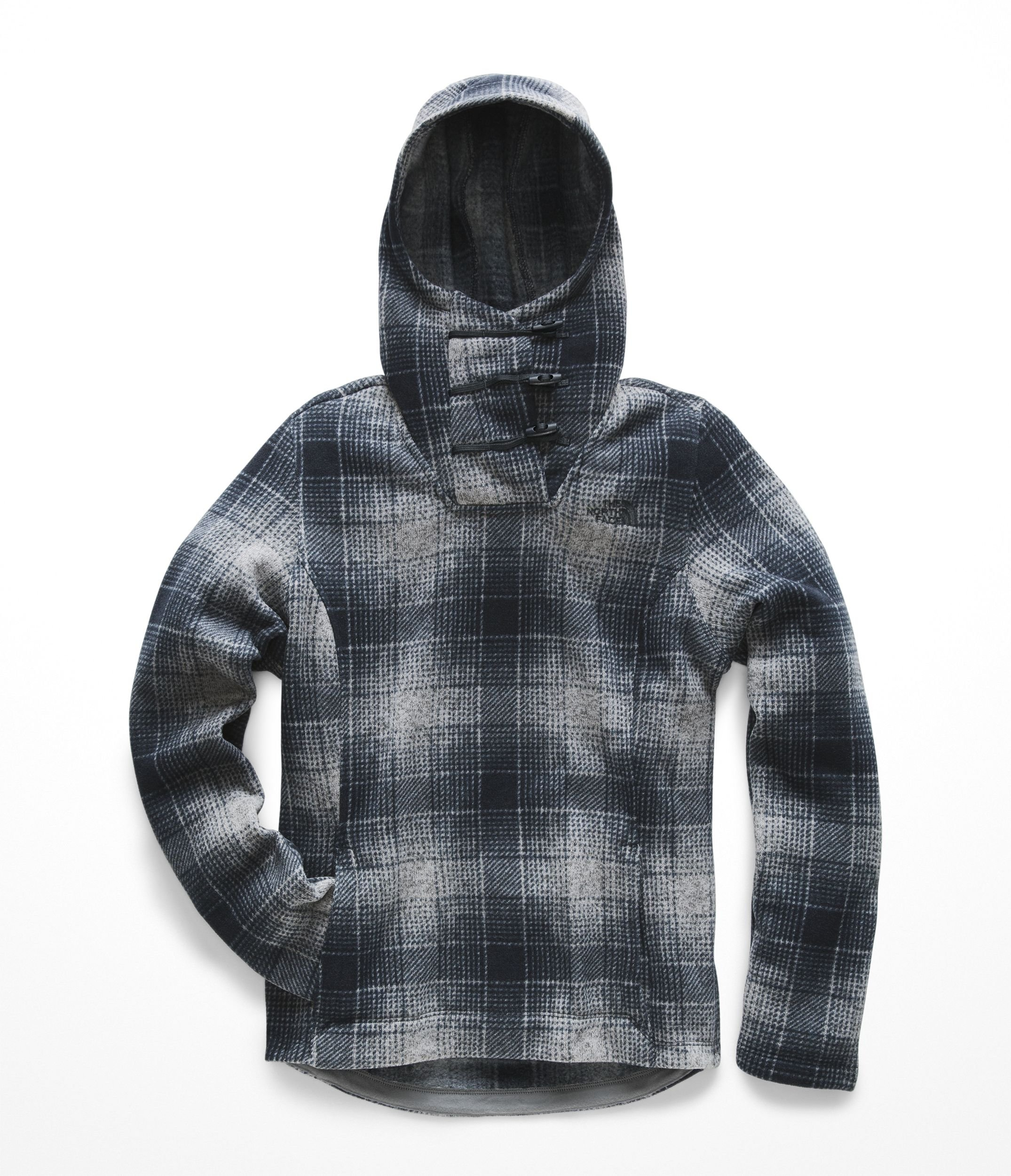 The North Face Womens Crescent Hooded Pullover - Mid Grey Ombre Plaid Small Print - XS