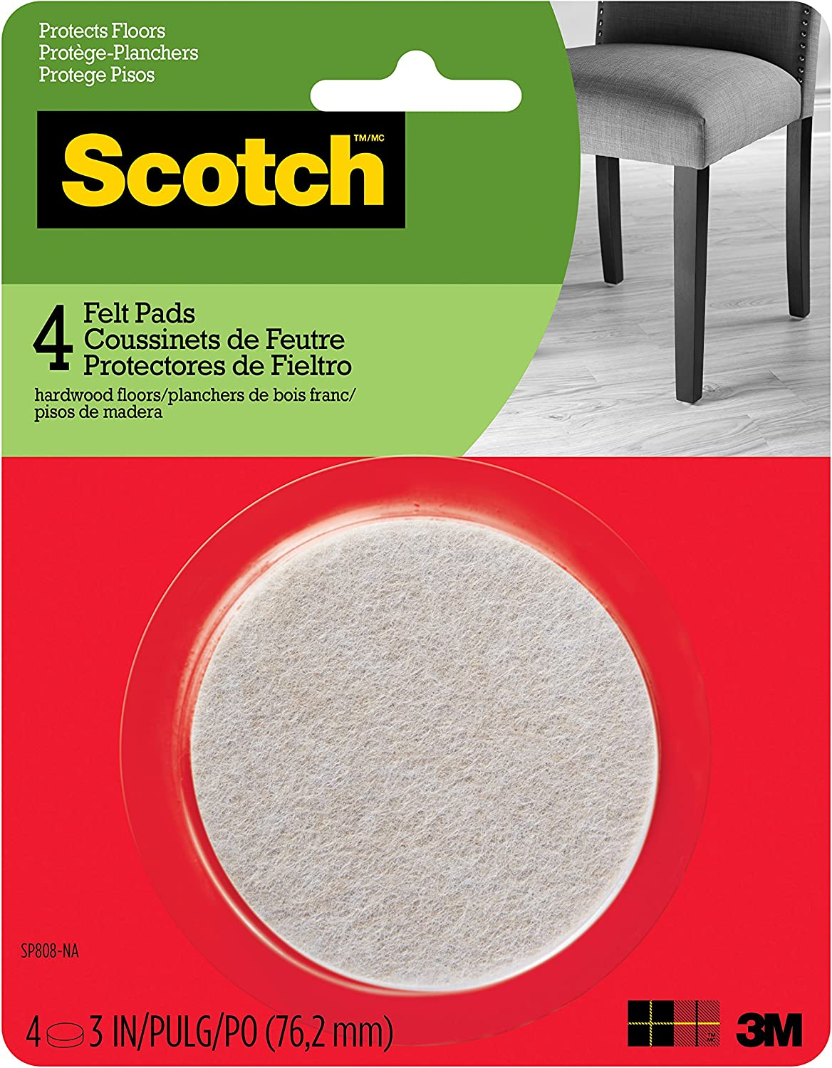 Scotch Mounting, Fastening & Surface Protection SP808-NA Scotch Felt Pads Round, 3 in. Diameter, Beige, 4/Pack