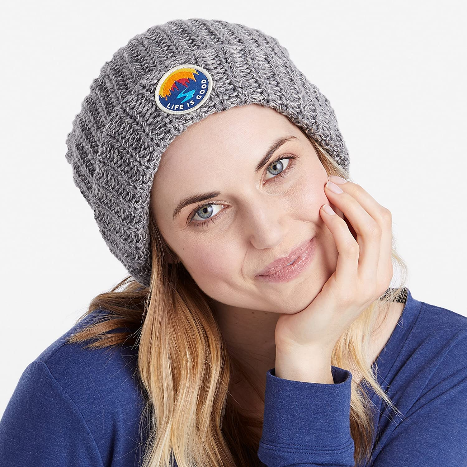 Life is Good Womens Slouchy Pom Winter Beanie Hat