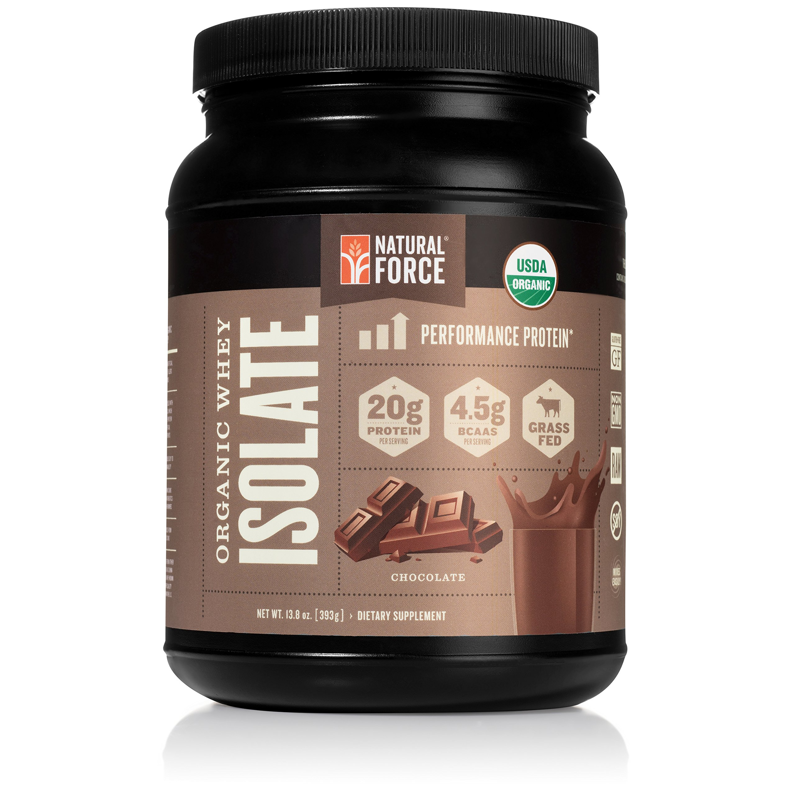 Organic Whey Protein Isolate Powder Chocolate, Best Grass Fed Whey Protein Powder for Men and Women*, No Sugar and Non GMO, Made and Sourced in The U.S.A. by Natural Force, 13.8 Ounce