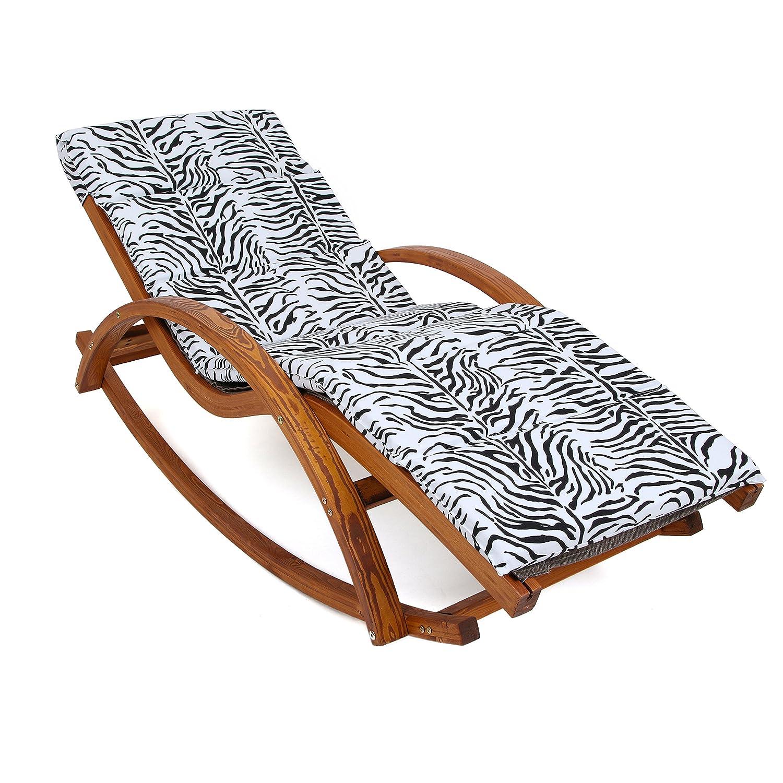 Ampel 24 Relax Schaukelstuhl Rio braun, Gartenliege aus vorbehandeltem Holz wetterfest, Relaxliege mit Armlehnen & Auflage, Stuhl Bespannung braun