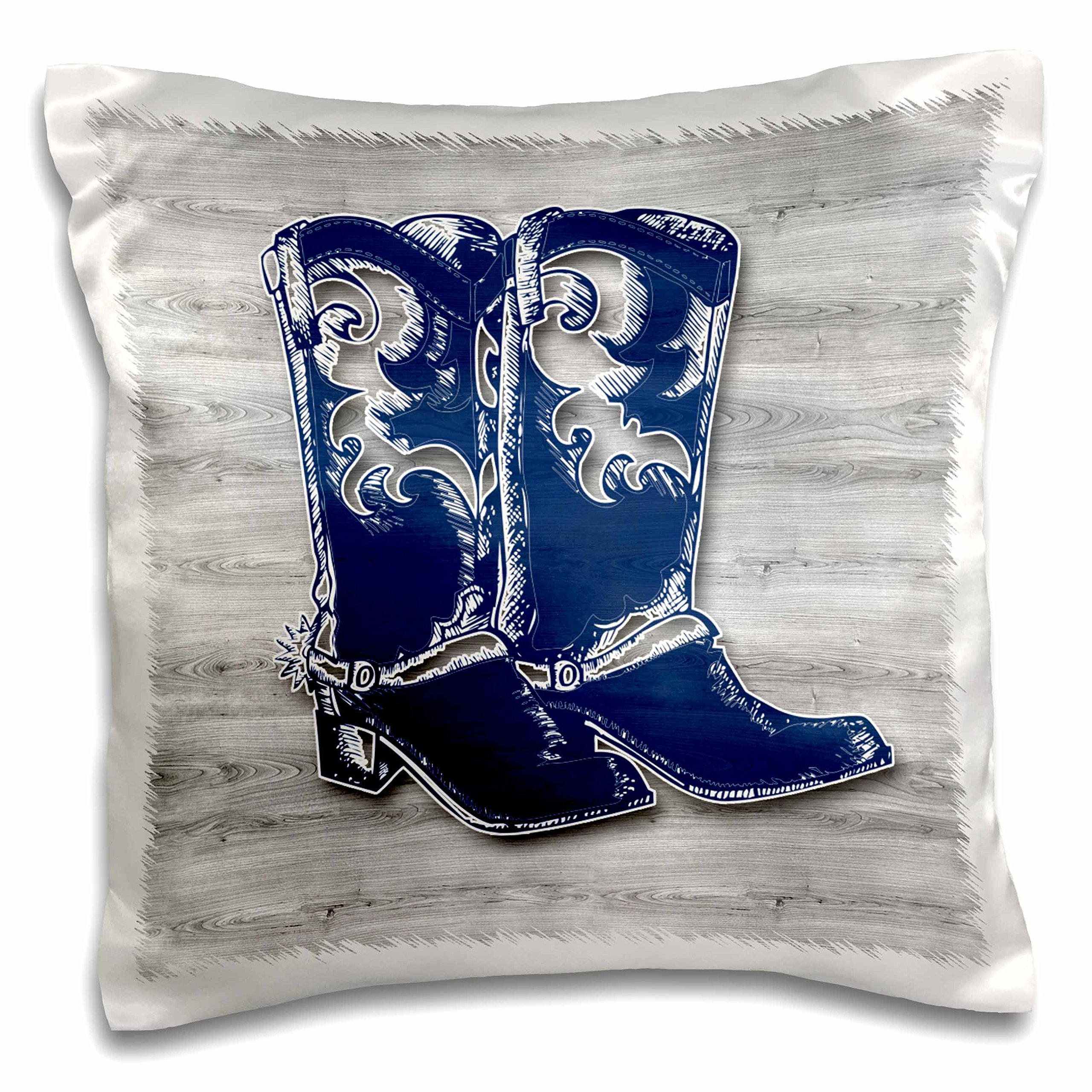 3dRose Pair of Cowboy Boots for Western Theme in Blue and Gray Wood Patterns Pillow Case, 16 x 16''