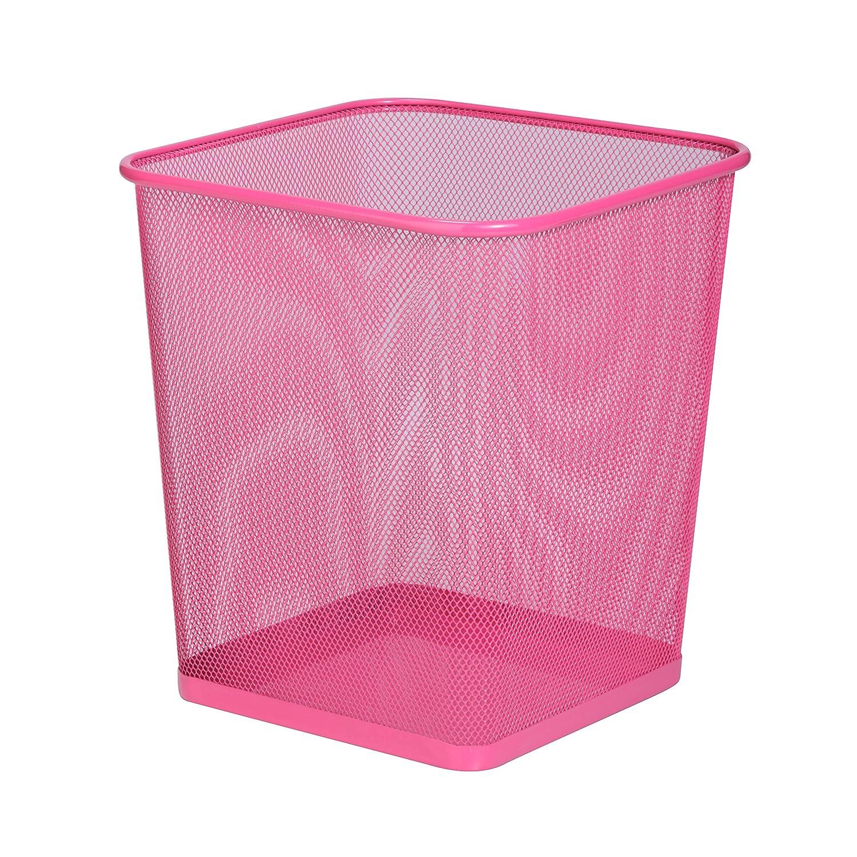 Honey-Can-Do TRS-05085 Square Mesh Trash Basket, 10.5 x 10.5 x 11.7, Pink