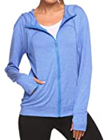 Soteer Women's Lightweight Active Performance Fast-Dry Full-zip Hoodie Jacket with Thumb Holes M-XXL