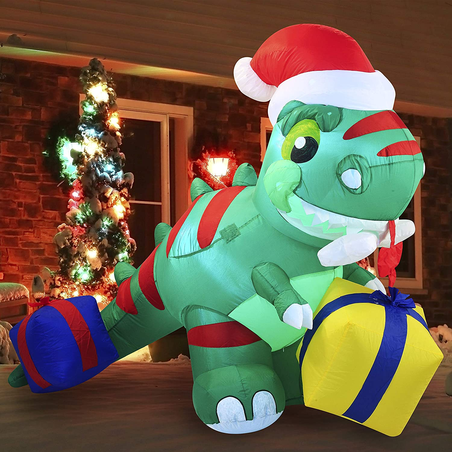 Joiedomi Christmas Inflatable Decoration 6ft Dinosaur Inflatable with Build-in LEDs Blow Up Inflatables for Xmas Party Indoor, Outdoor, Yard, Garden, Lawn, Winter Decor