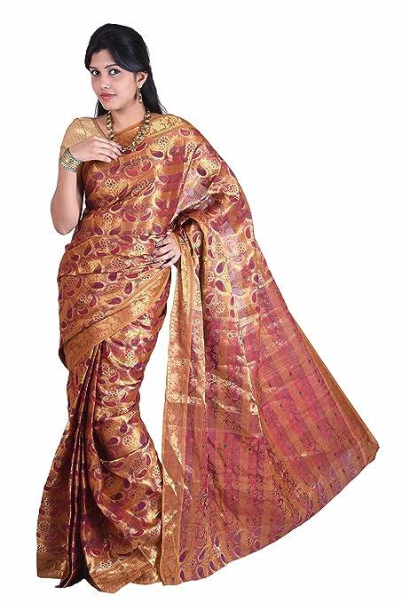 Mimosa Women Kanchipuram Multi Art Silk Saree with Blouse (3014-97-Kp-Marun, Maroon) Women's Sarees at amazon