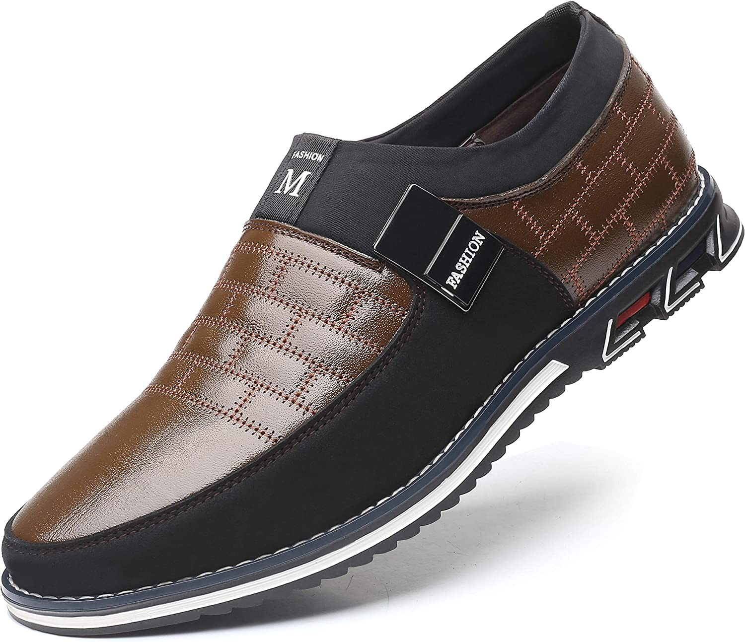 COSIDRAM Men Casual Shoes Summer Sneakers Loafers Breathable Comfort Walking Shoes Fashion Driving Shoes Luxury Black Brown Leather Shoes for Male Business Work Office Dress Outdoor