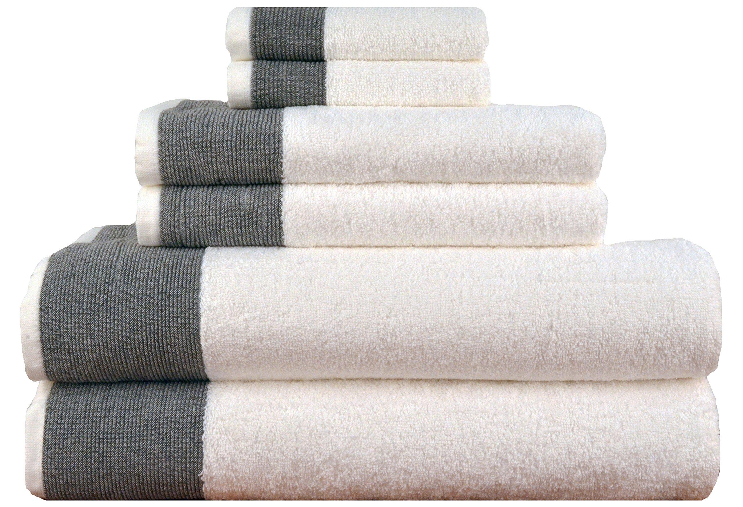 LUNASIDUS CTT-100 Venice Luxury Hotel & Spa Premium 6Piece Towel Set, 100% Turkish Cotton, Towel Sets, White Towel, Black