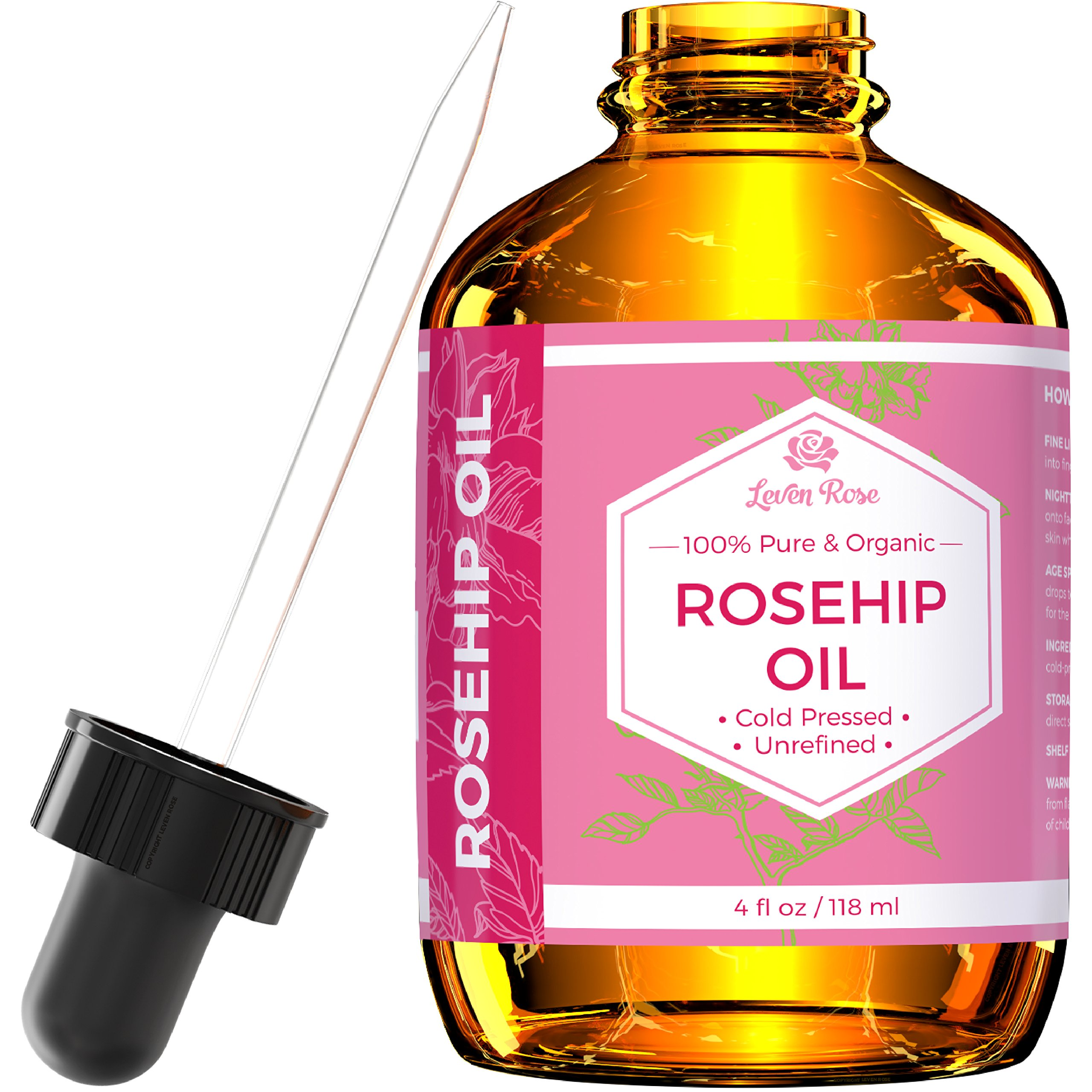 Rosehip Seed Oil by Leven Rose, 100% Pure Organic Unrefined Cold Pressed Anti Aging Rose Hip Moisturizer for Hair Skin & Nails, 4 Fl. Oz by Leven Rose