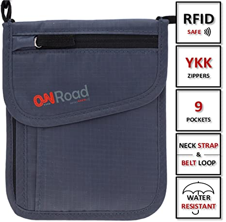 b40d4121b8db Amazon.com   ON THE ROAD Neck Wallet Passport Holder with Safety RFID  Blocking Travel Pouch   Travel Wallets