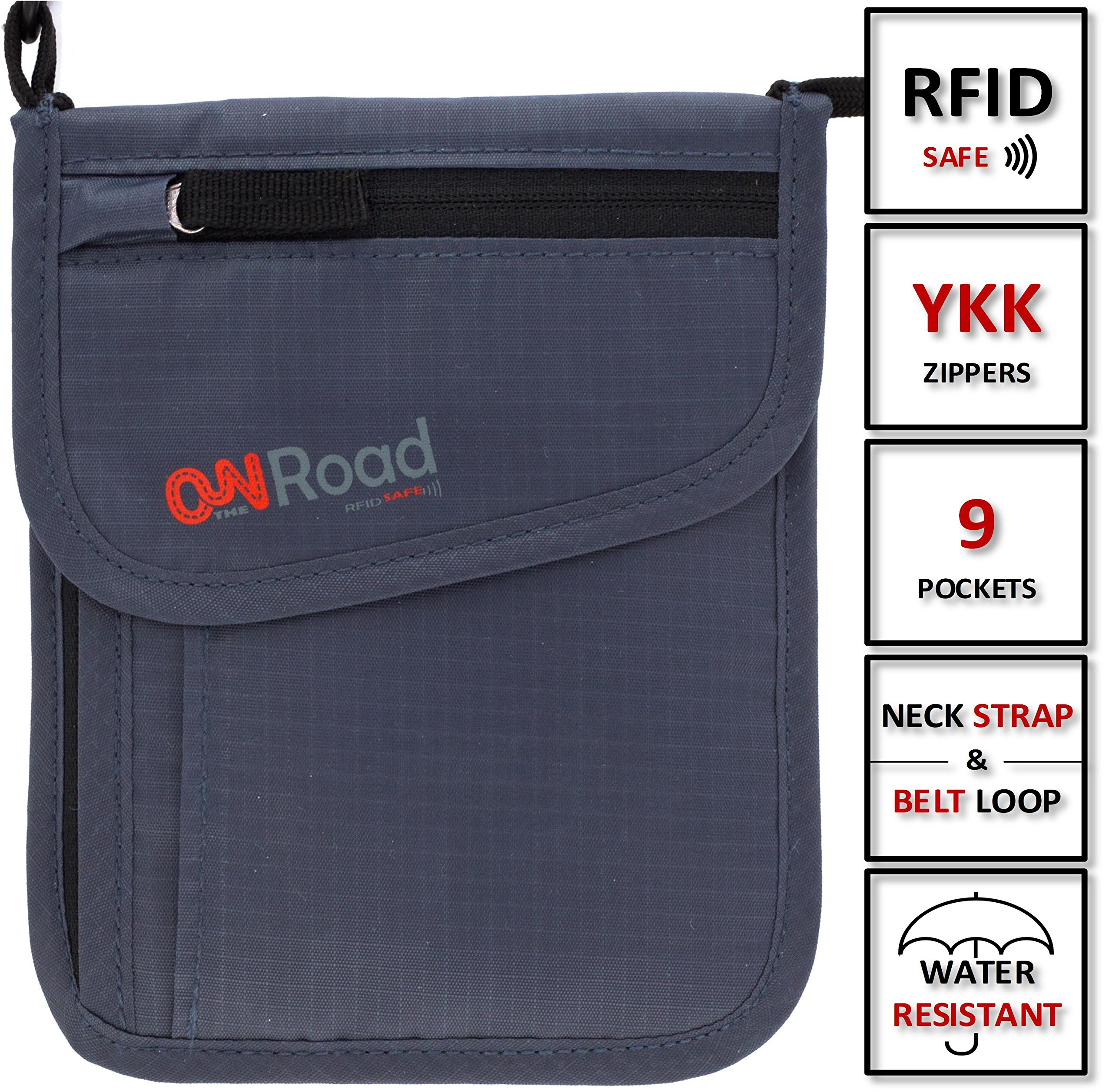 ON THE ROAD Neck Wallet Passport Holder with Safety RFID Blocking Travel Pouch