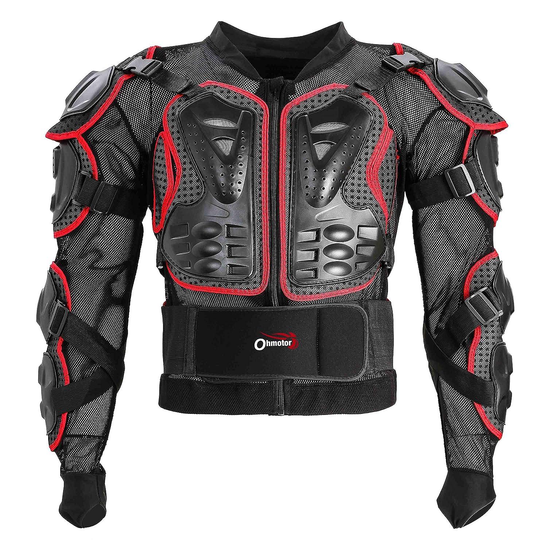 OHMOTOR Motorcycle Motorbike Full Body Armor Protector Pro Street Motocross ATV Guard Shirt Jacket with Back Protection Black, S