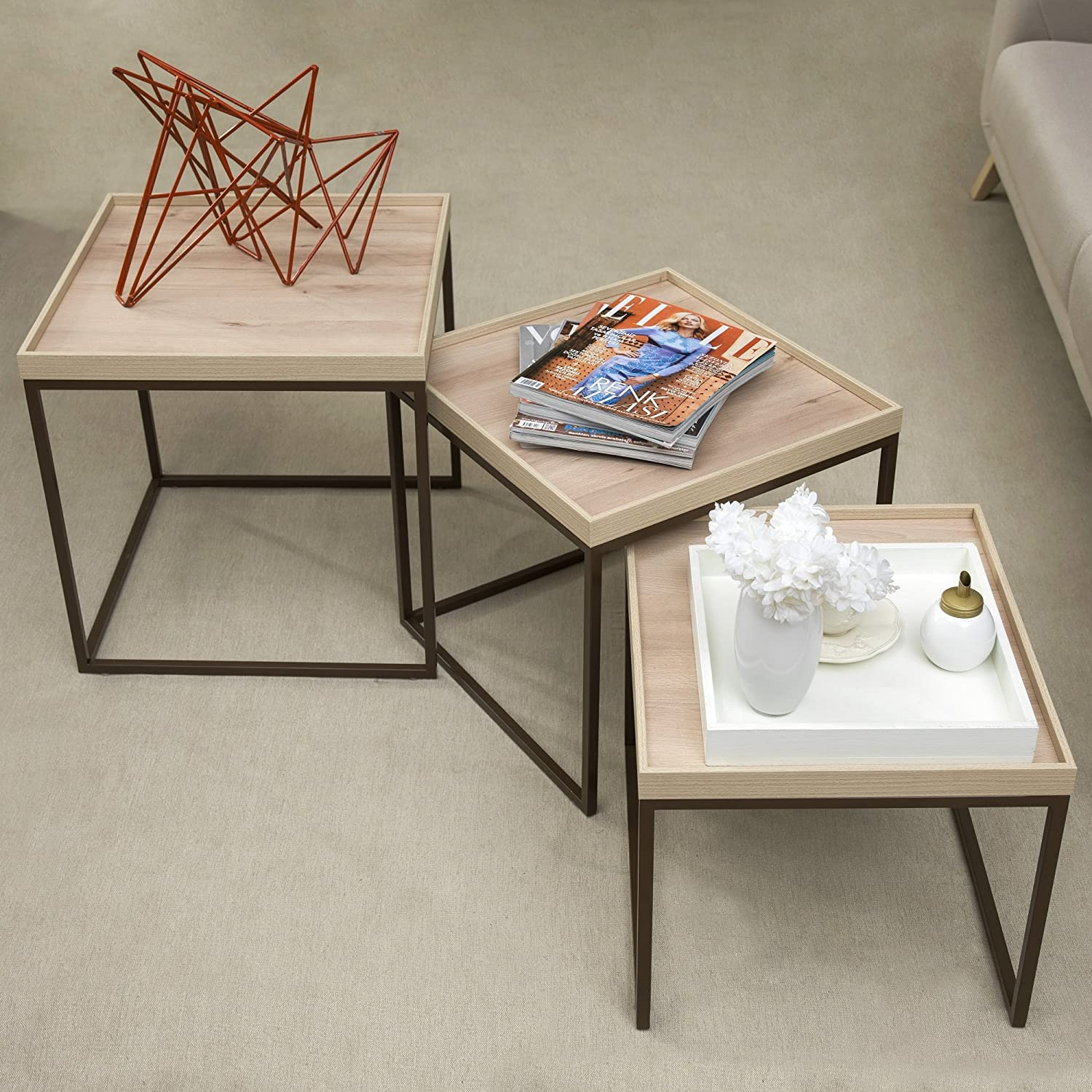 Adam and Illy Valentin Side Table, Iconic Oak