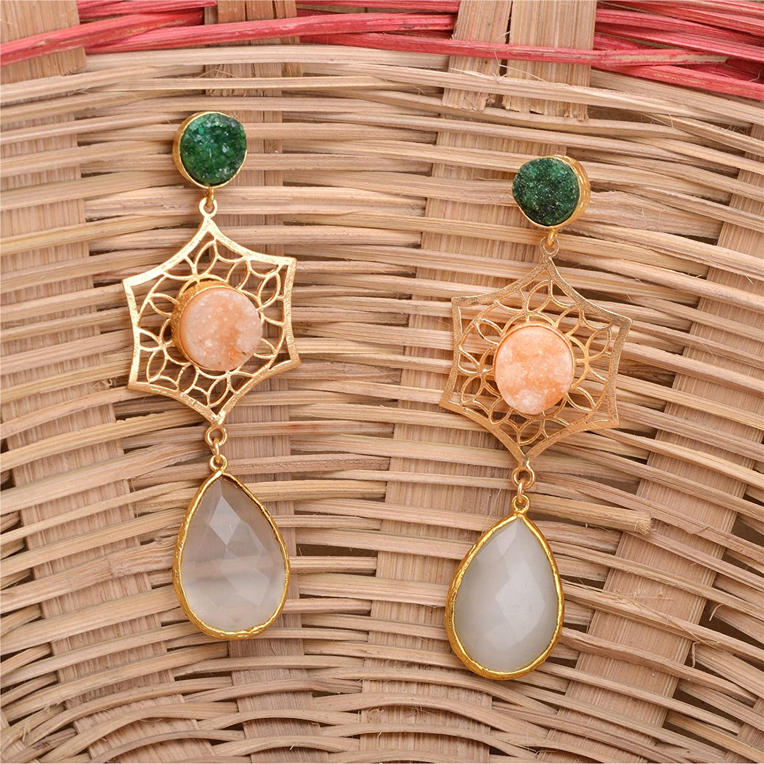 Zephyrr Earrings Gold Plated Druzy and Filigree Work with White Glass Beads For Women and Girls