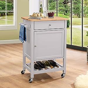 ACME Hoogzen Kitchen Cart - - Natural & Gray