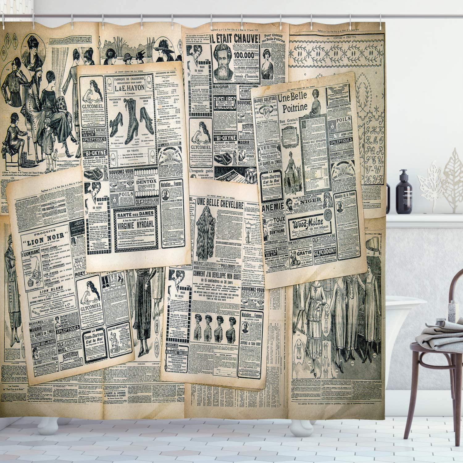 Amazon Com Ambesonne Antique Shower Curtain Vintage Style Sepia Toned Newspaper Print With Old Fashioned Illustrations Cloth Fabric Bathroom Decor Set With Hooks 75 Long Green Beige Home Kitchen