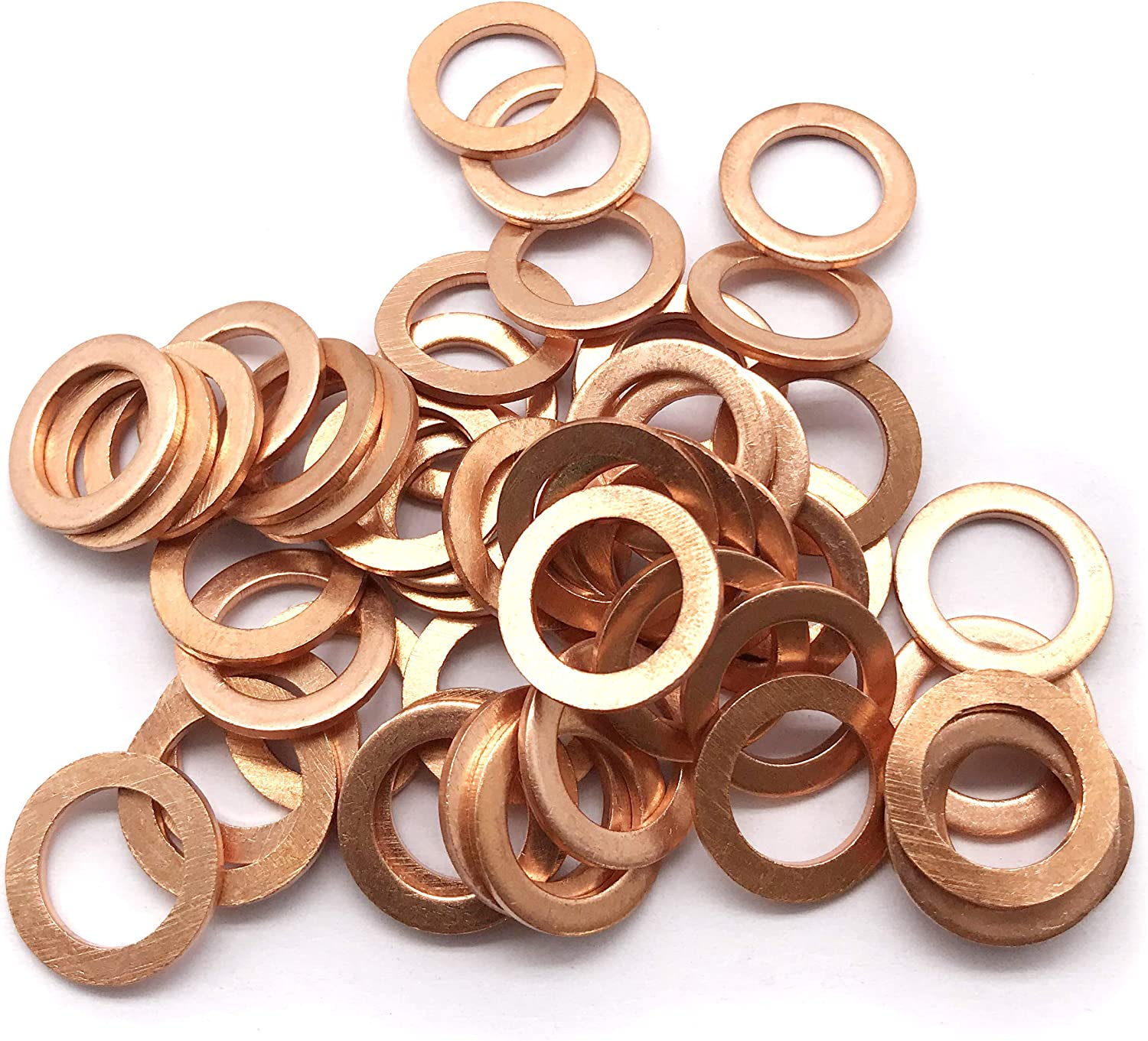 M12 Flat Washer Copper Sealing Ring, 12mm ID 18mm OD 1.5mm Thickness Metric Sealing Gasket, 50 Pieces