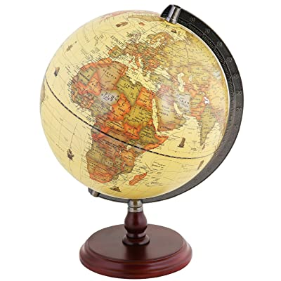 """Exerz Antique Globe 10"""" / 25 cm Diameter with A Wood Base, Vintage Decorative Political Desktop World - Rotating Full Earth Geography Educational - for Kids, Adults, School, Home, Office (Dia 10-inch): Office Products"""