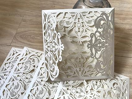 amazon com cream 4 folding laser cut wedding invitation handmade